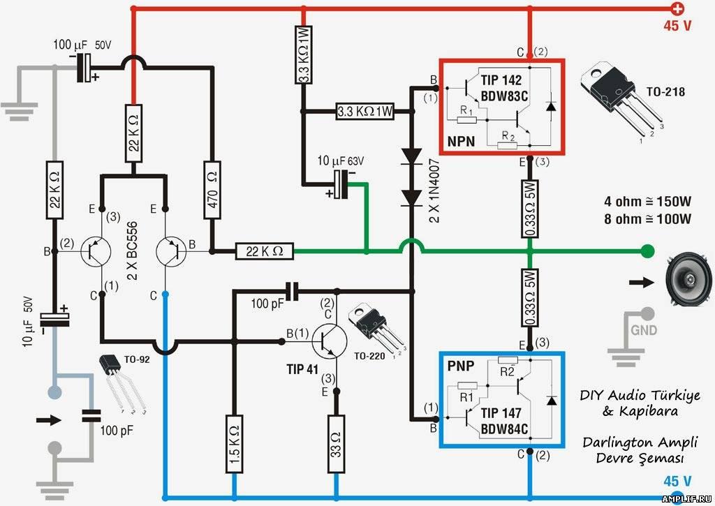 Усилители tip142 tip147 схема