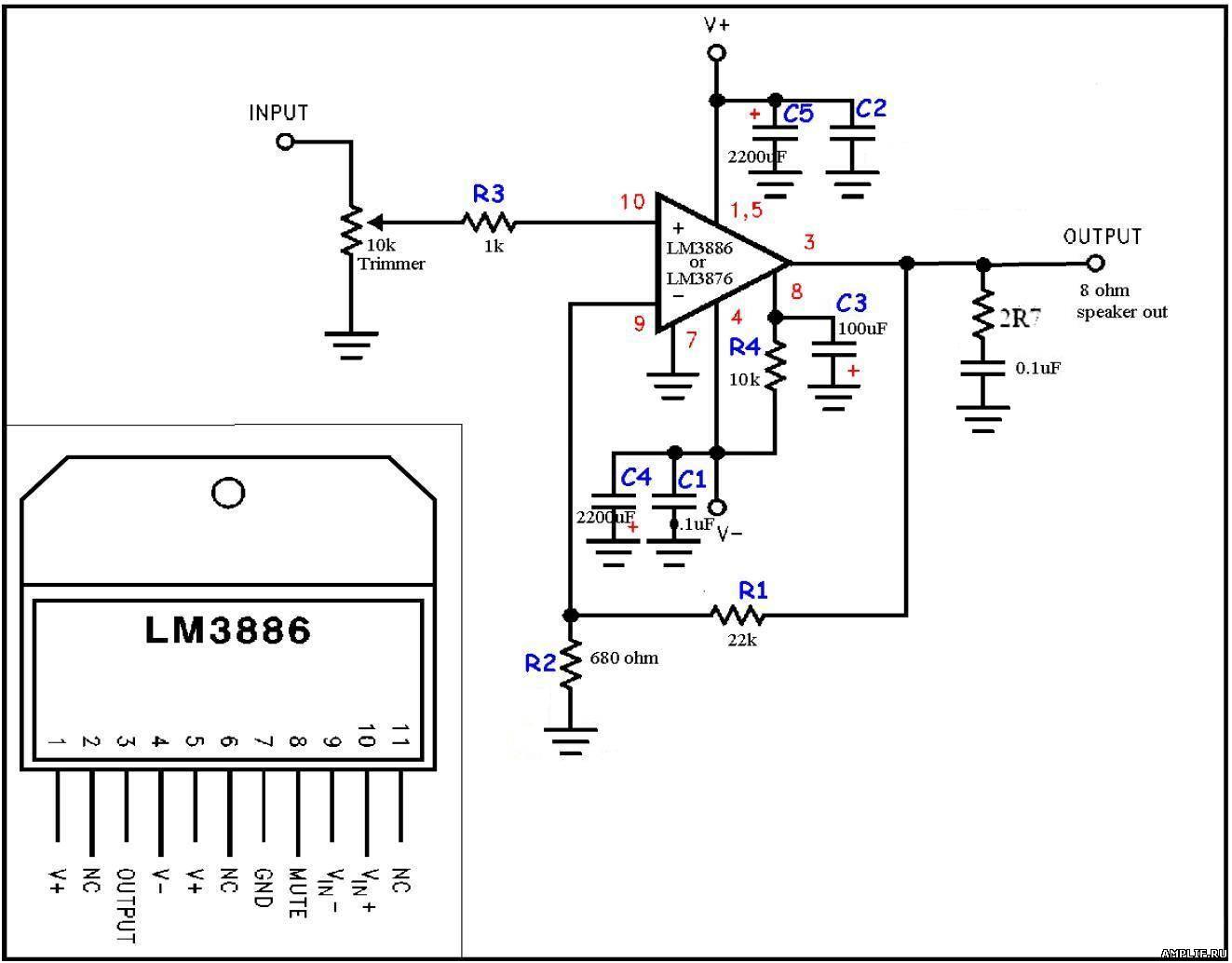 усилителя на lm3886 схемы