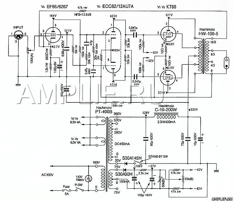 Схема усилителя на kt88